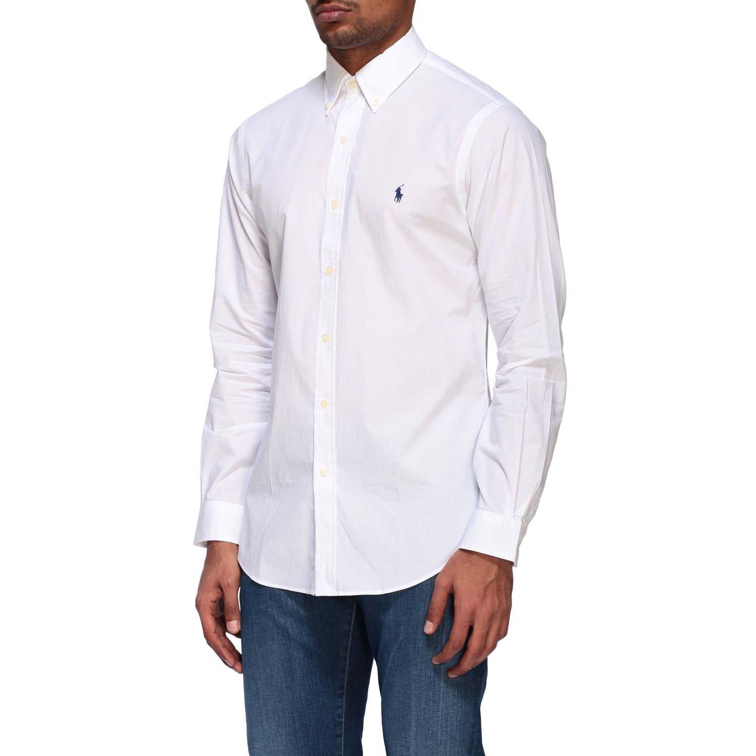 Camicia Polo Ralph Lauren in popeline con collo button down bianco 4