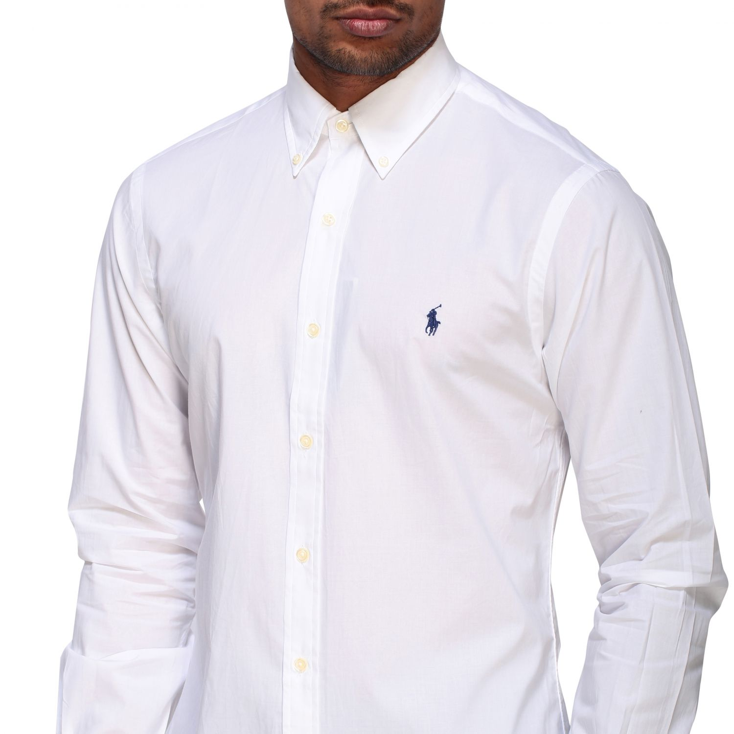 Camicia Polo Ralph Lauren in popeline con collo button down bianco 5