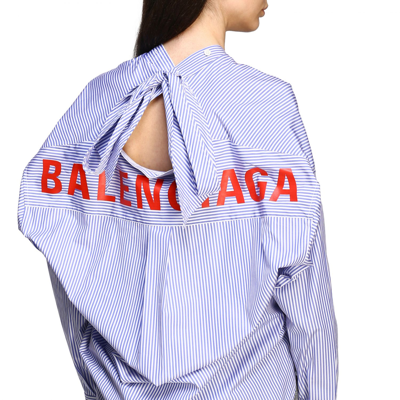 Chemise Balenciaga: Chemise New swing Balenciaga avec logo au dos bleu azur 4
