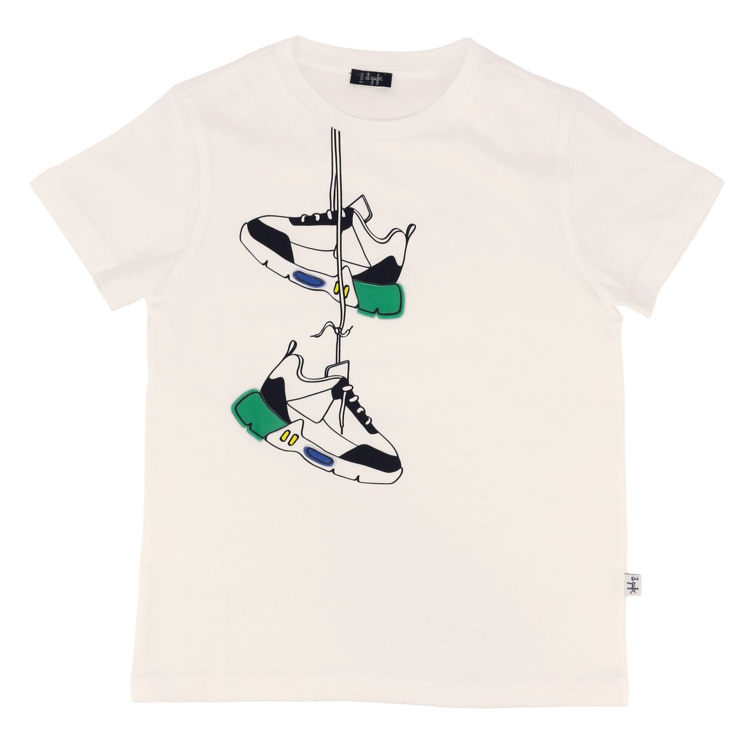 Il Gufo short-sleeved t-shirt with shoe print white 1