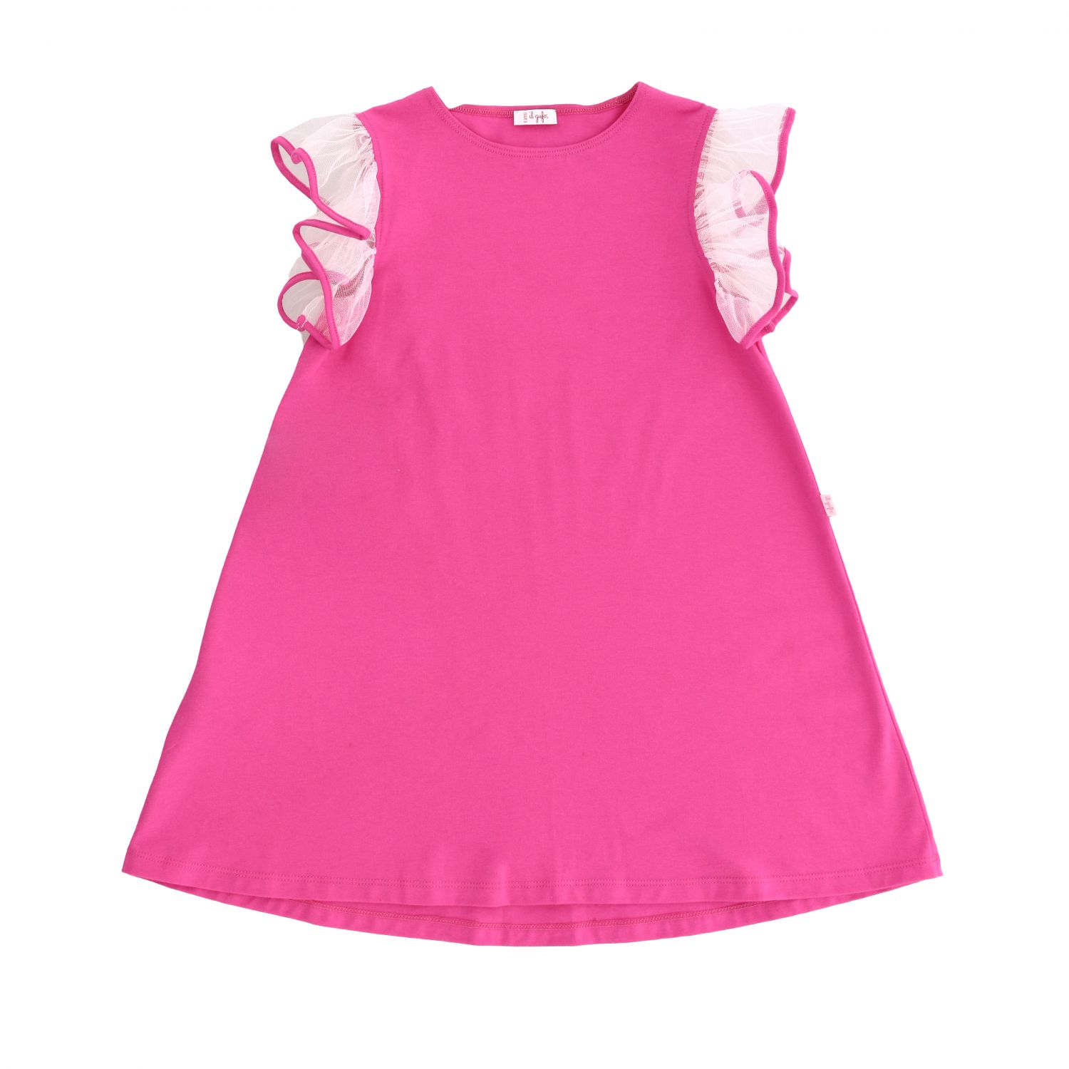 Il Gufo jersey dress with tulle rouches sleeves fuchsia 1