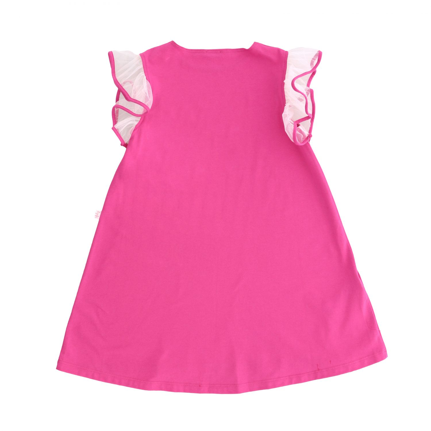 Il Gufo jersey dress with tulle rouches sleeves fuchsia 2