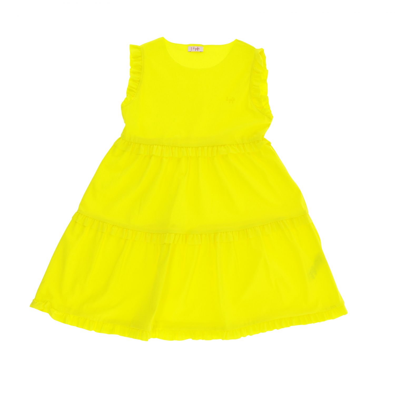 Robe Il Gufo: Robe Il Gufo en tissu technique avec ruches jaune 1