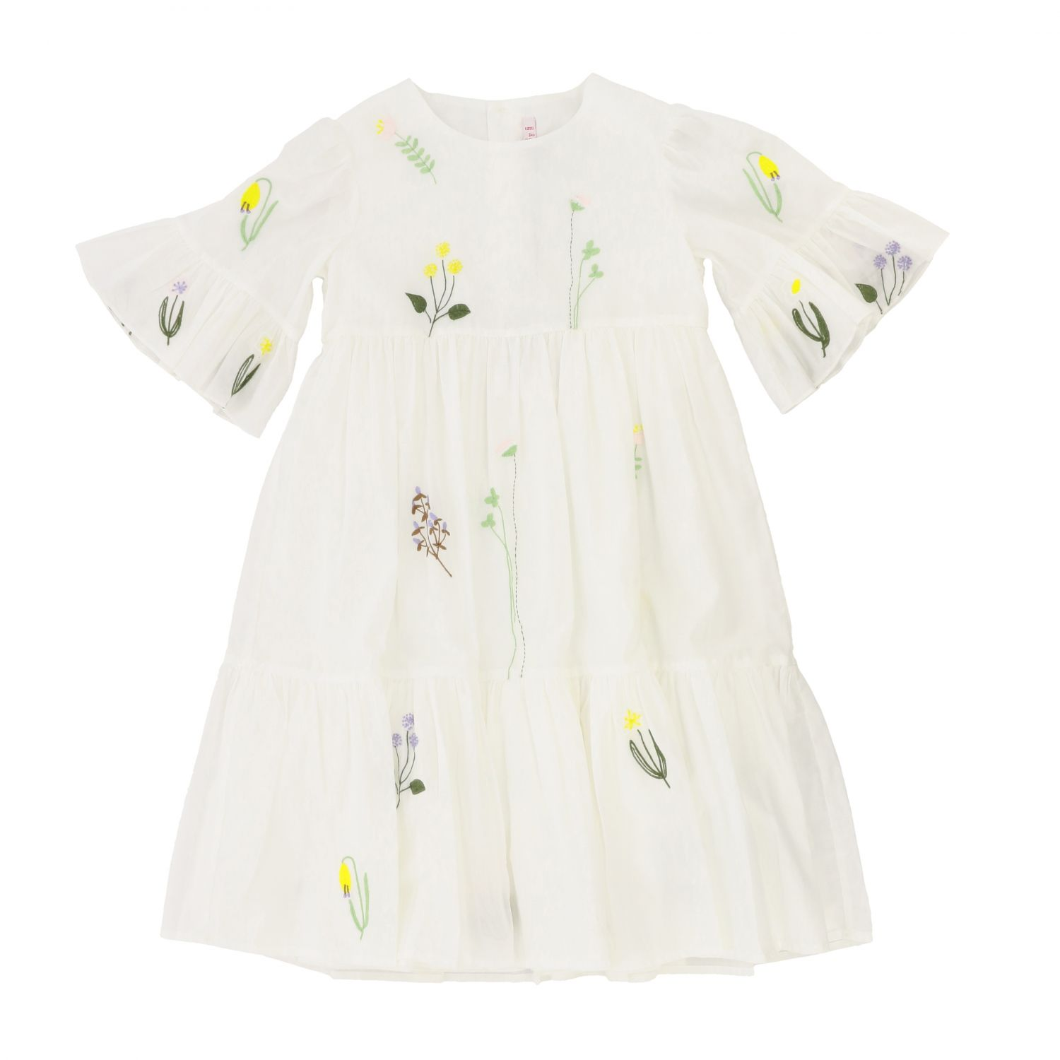 Il Gufo dress with floral embroidery white 1