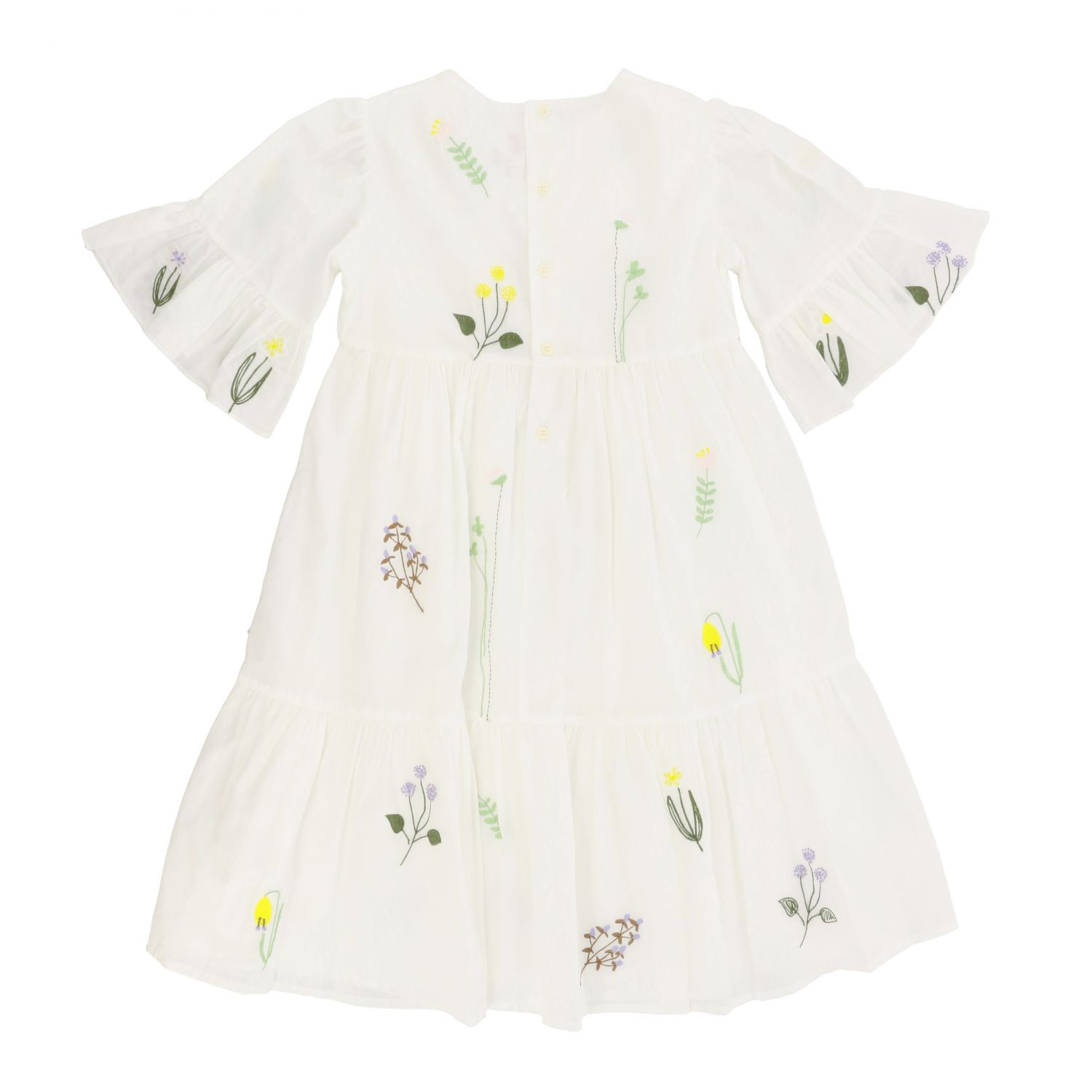 Il Gufo dress with floral embroidery white 2