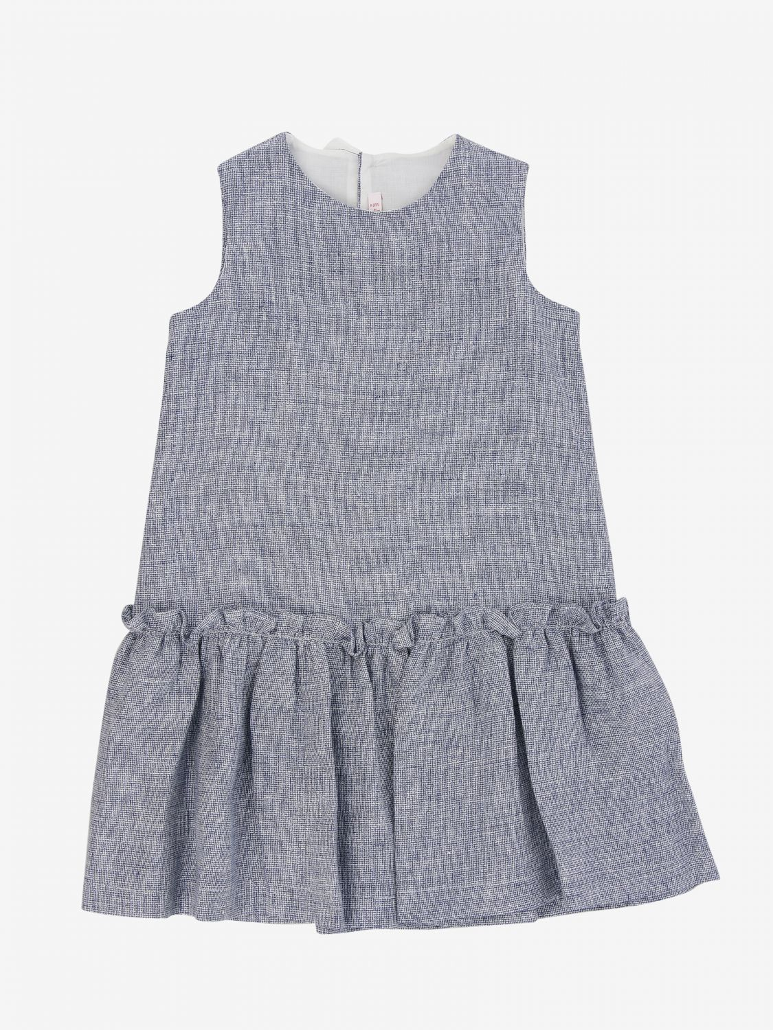 Il Gufo dress in grisaille with bow blue 1