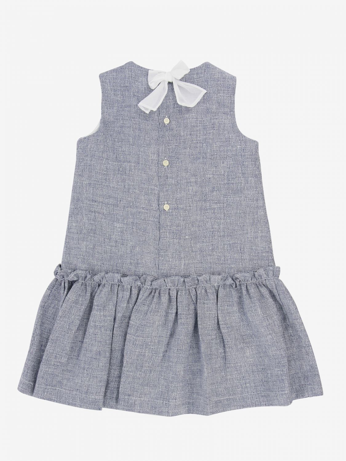 Il Gufo dress in grisaille with bow blue 2