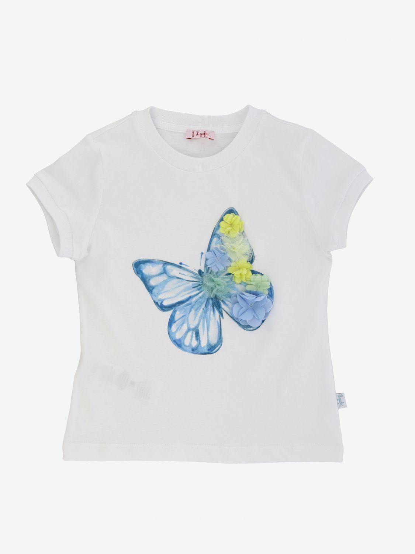 T-shirt Il Gufo con stampa farfalla e applicazioni floreali bianco 1
