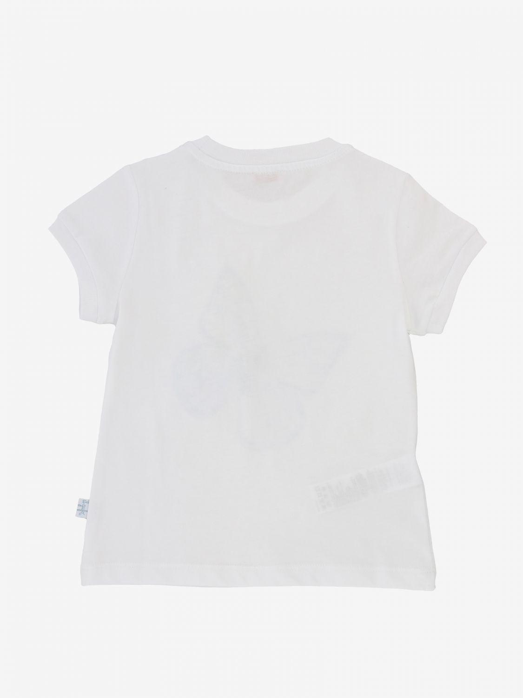 T-shirt Il Gufo con stampa farfalla e applicazioni floreali bianco 2