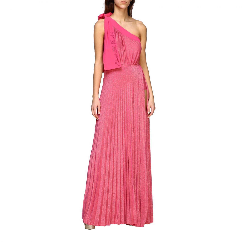 Robes Elisabetta Franchi: Robe longue asymétrique Elisabetta Franchi en tissu lurex avec logo fuchsia 1
