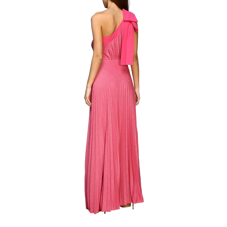Robes Elisabetta Franchi: Robe longue asymétrique Elisabetta Franchi en tissu lurex avec logo fuchsia 2