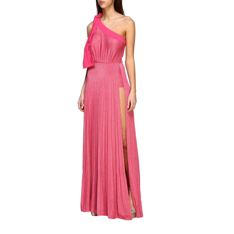 Robes Elisabetta Franchi: Robe longue asymétrique Elisabetta Franchi en tissu lurex avec logo fuchsia 3
