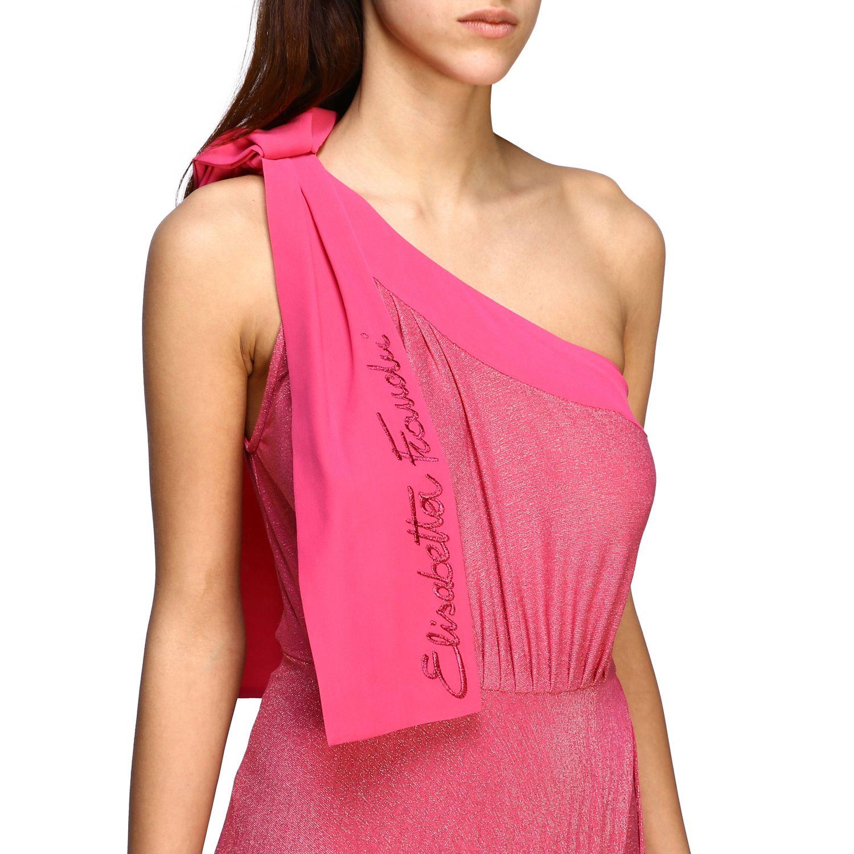 Robes Elisabetta Franchi: Robe longue asymétrique Elisabetta Franchi en tissu lurex avec logo fuchsia 4