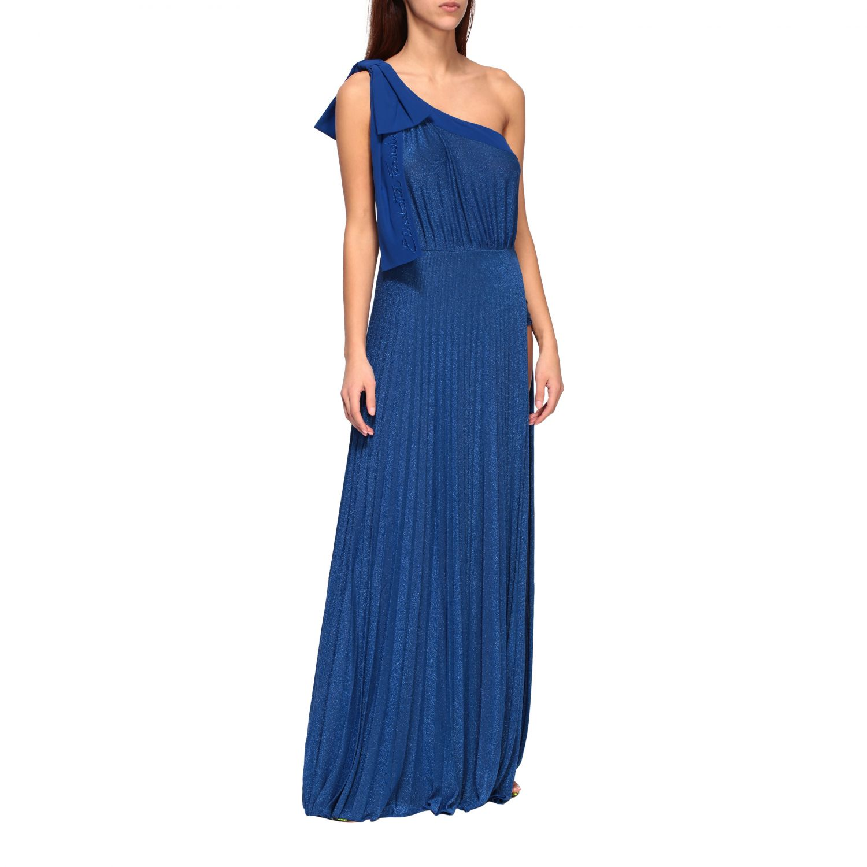 Elisabetta Franchi long one-shoulder dress in lurex fabric with logo blue 1