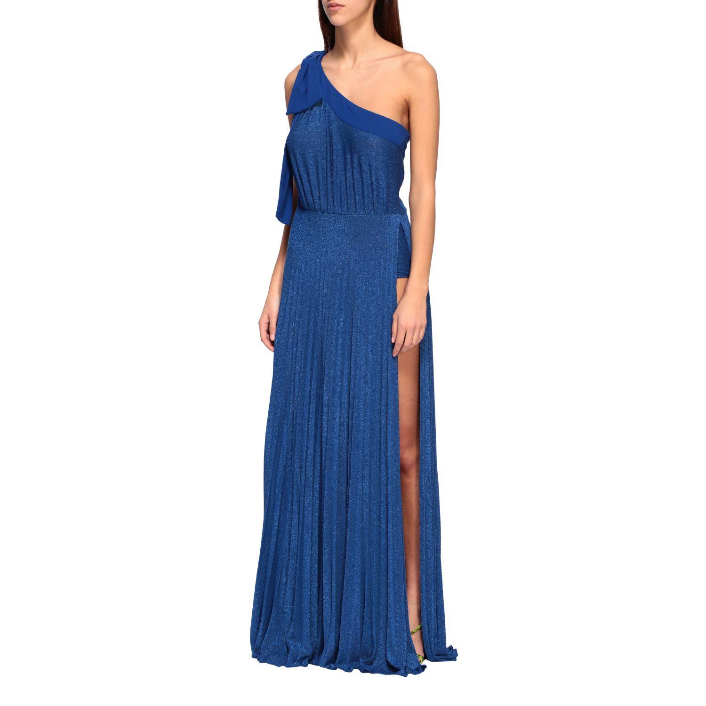Elisabetta Franchi long one-shoulder dress in lurex fabric with logo blue 3