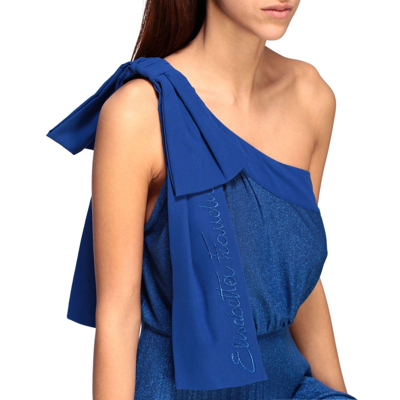 Elisabetta Franchi long one-shoulder dress in lurex fabric with logo blue 4