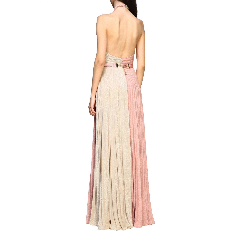 Elisabetta Franchi 腰带装饰金银丝面料长款连衣裙 粉末色 2