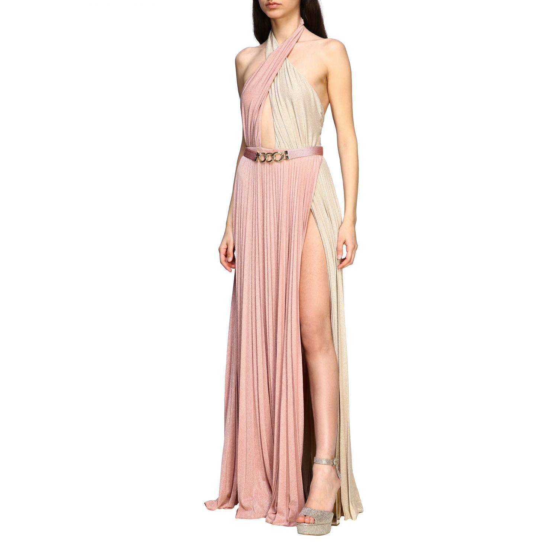 Elisabetta Franchi 腰带装饰金银丝面料长款连衣裙 粉末色 3