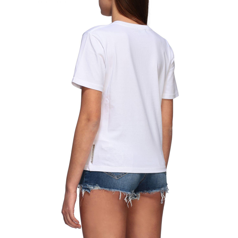 T-shirt Elisabetta Franchi a maniche corte con multi logo stampato bianco 2