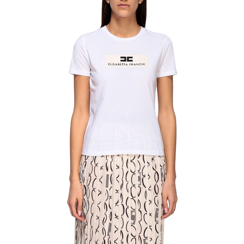 T-shirt Elisabetta Franchi a girocollo con logo bianco 1