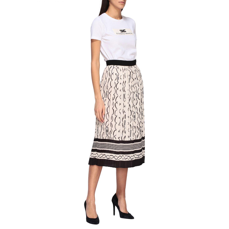 T-shirt Elisabetta Franchi a girocollo con logo bianco 2