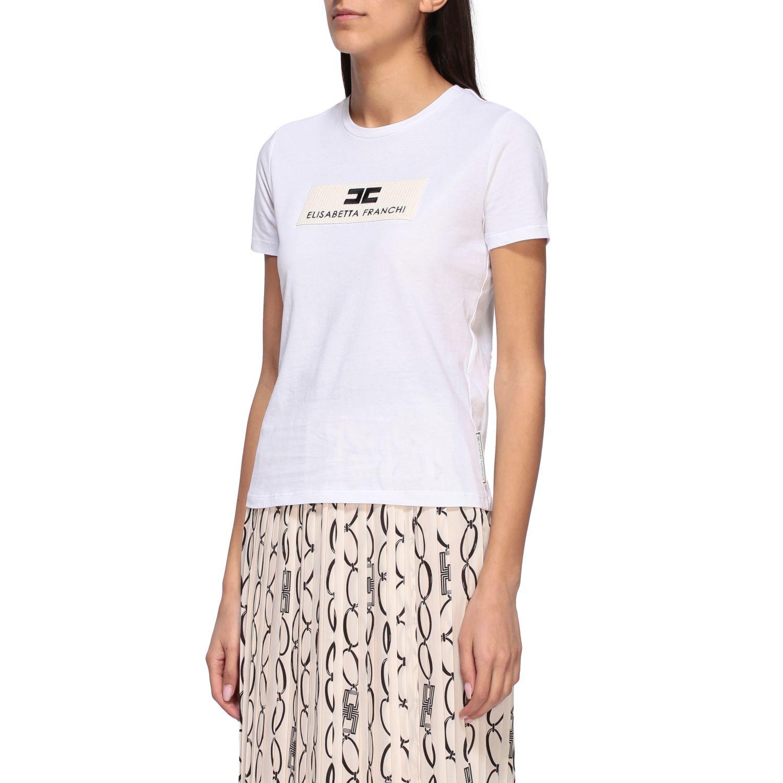 T-shirt Elisabetta Franchi a girocollo con logo bianco 4