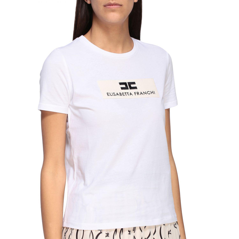 T-shirt Elisabetta Franchi a girocollo con logo bianco 5