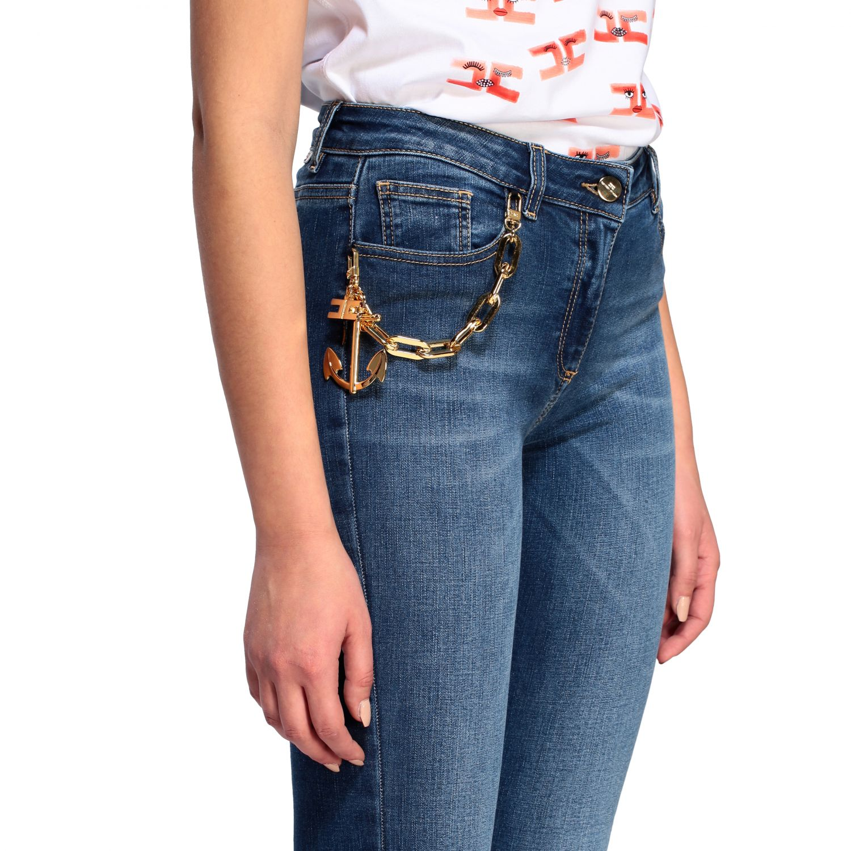 Jeans Elisabetta Franchi slim con catena denim 5
