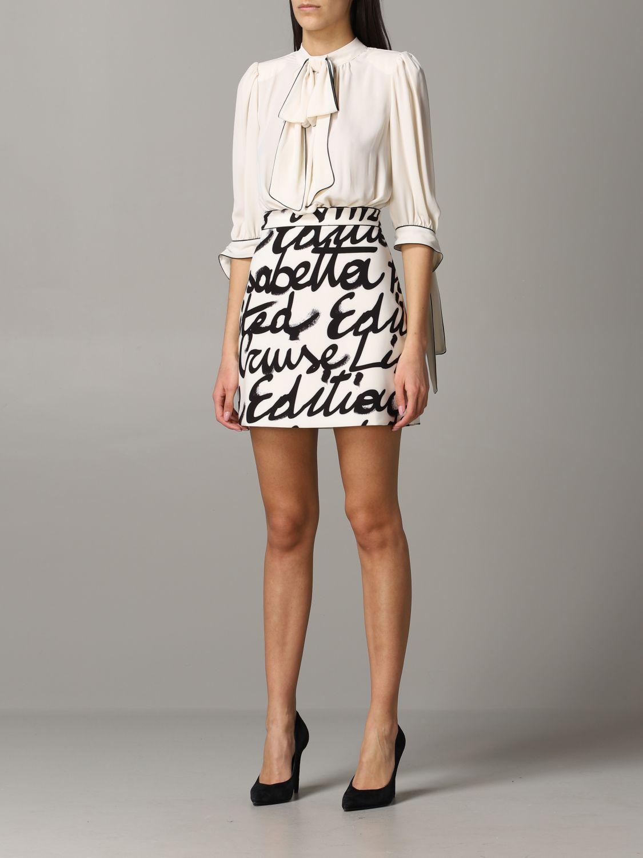 Elisabetta Franchi Kleid mit Logo Rock yellow cream 3