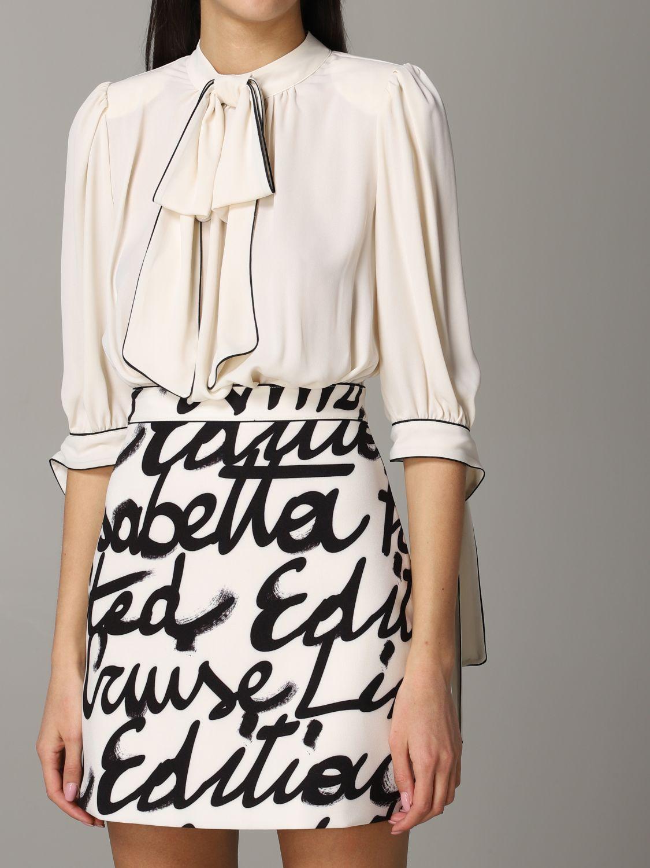 Elisabetta Franchi Kleid mit Logo Rock yellow cream 4