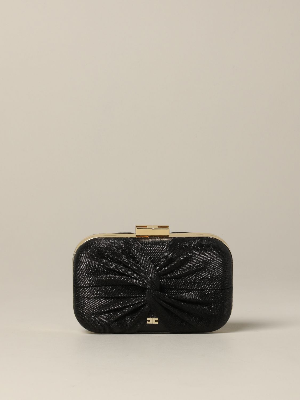 Elisabetta Franchi clutch in lurex fabric black 1