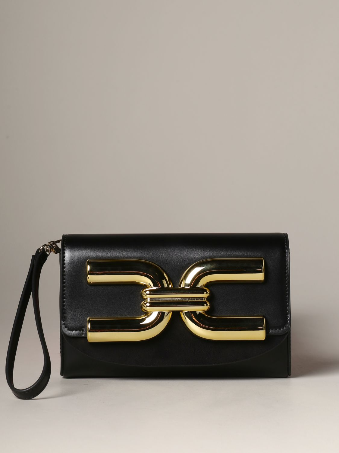 Elisabetta Franchi leather clutch with logo black 1