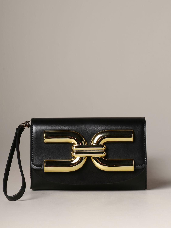Elisabetta Franchi logo 真皮手包 黑色 1