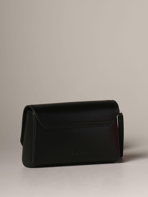 Elisabetta Franchi logo 真皮手包 黑色 3