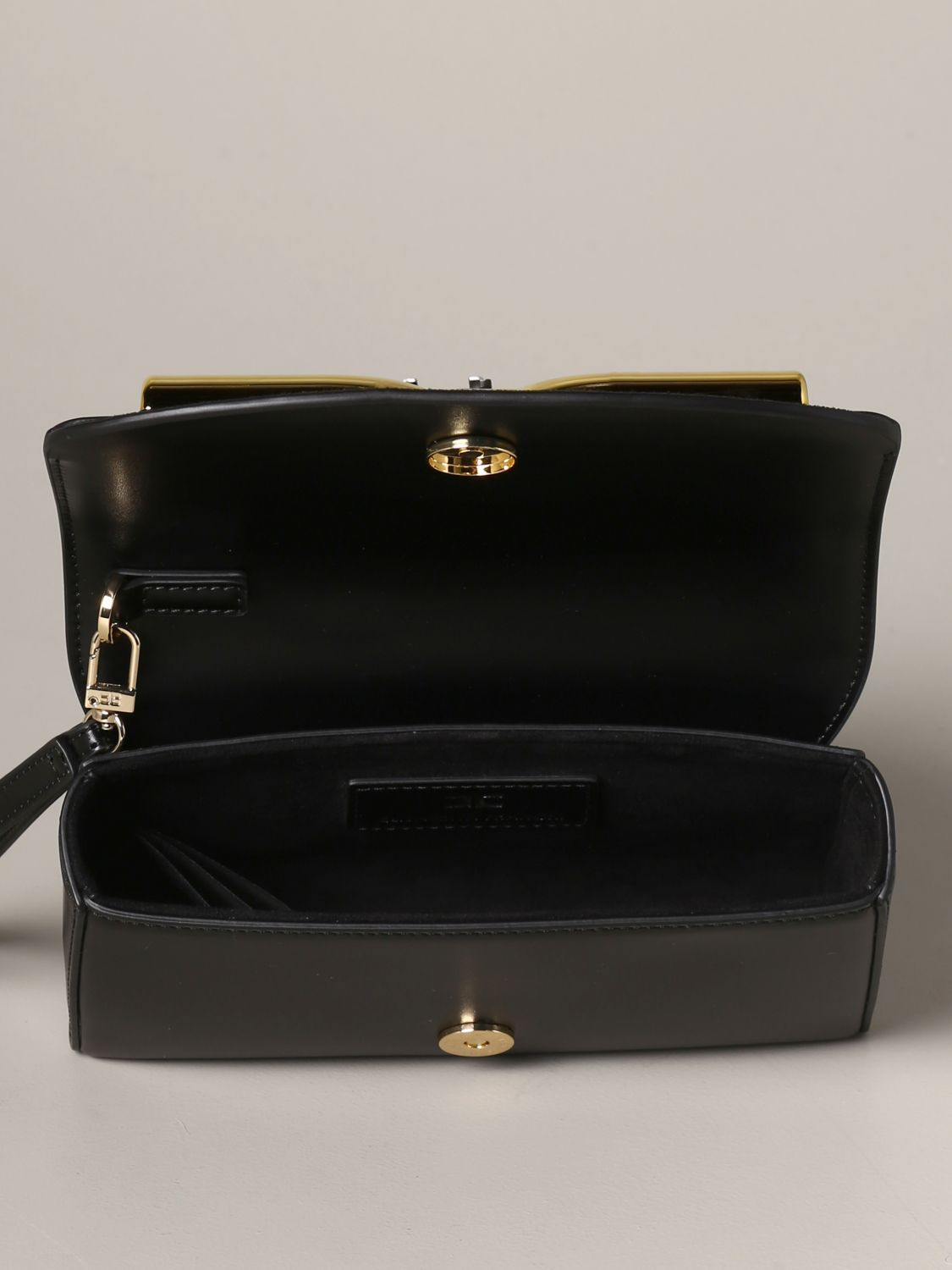 Elisabetta Franchi leather clutch with logo black 5