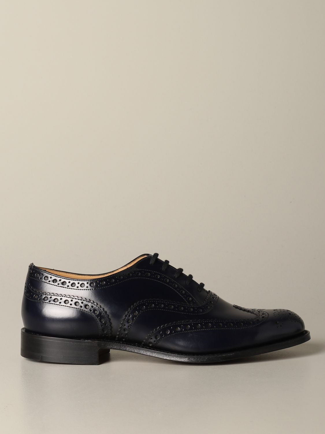 Brogue shoes Church's: Burwood Church's derby in brushed leather with brogue motif blue 1