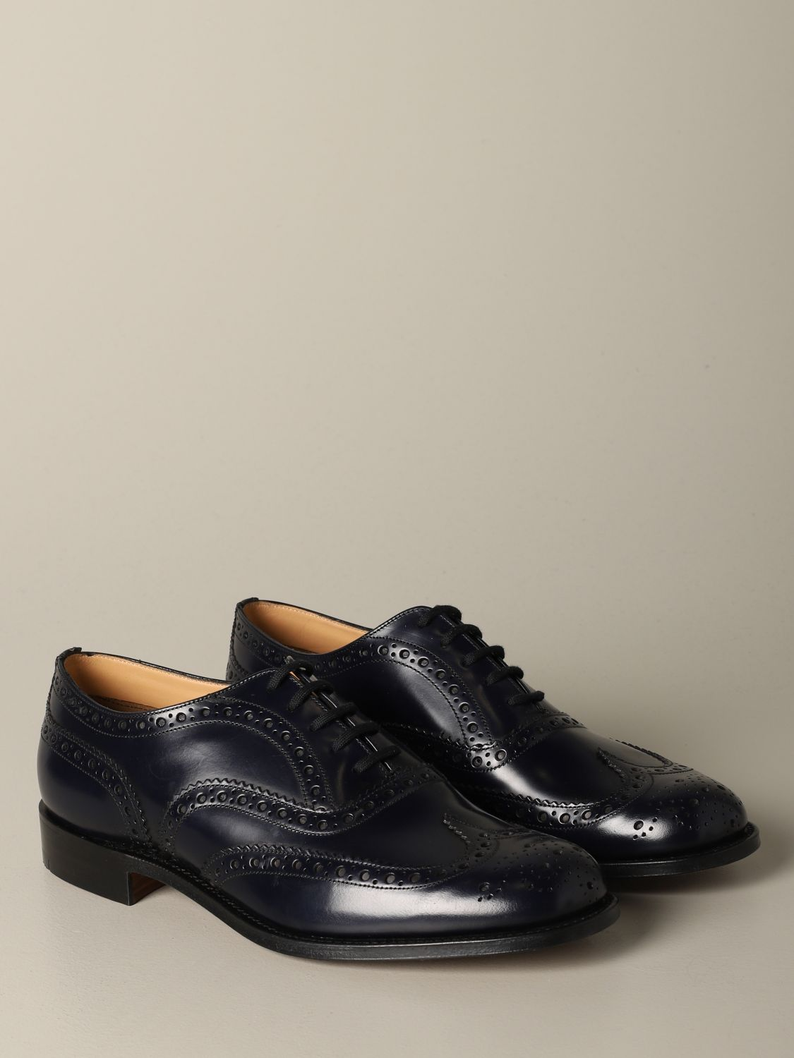 Brogue shoes Church's: Burwood Church's derby in brushed leather with brogue motif blue 2