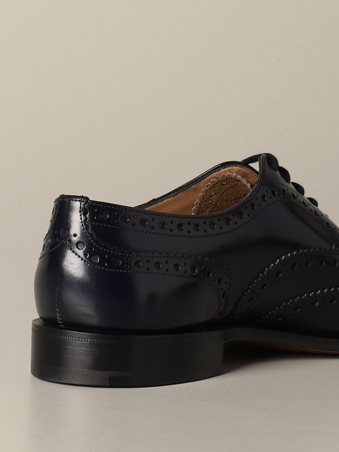 Brogue shoes Church's: Burwood Church's derby in brushed leather with brogue motif blue 3