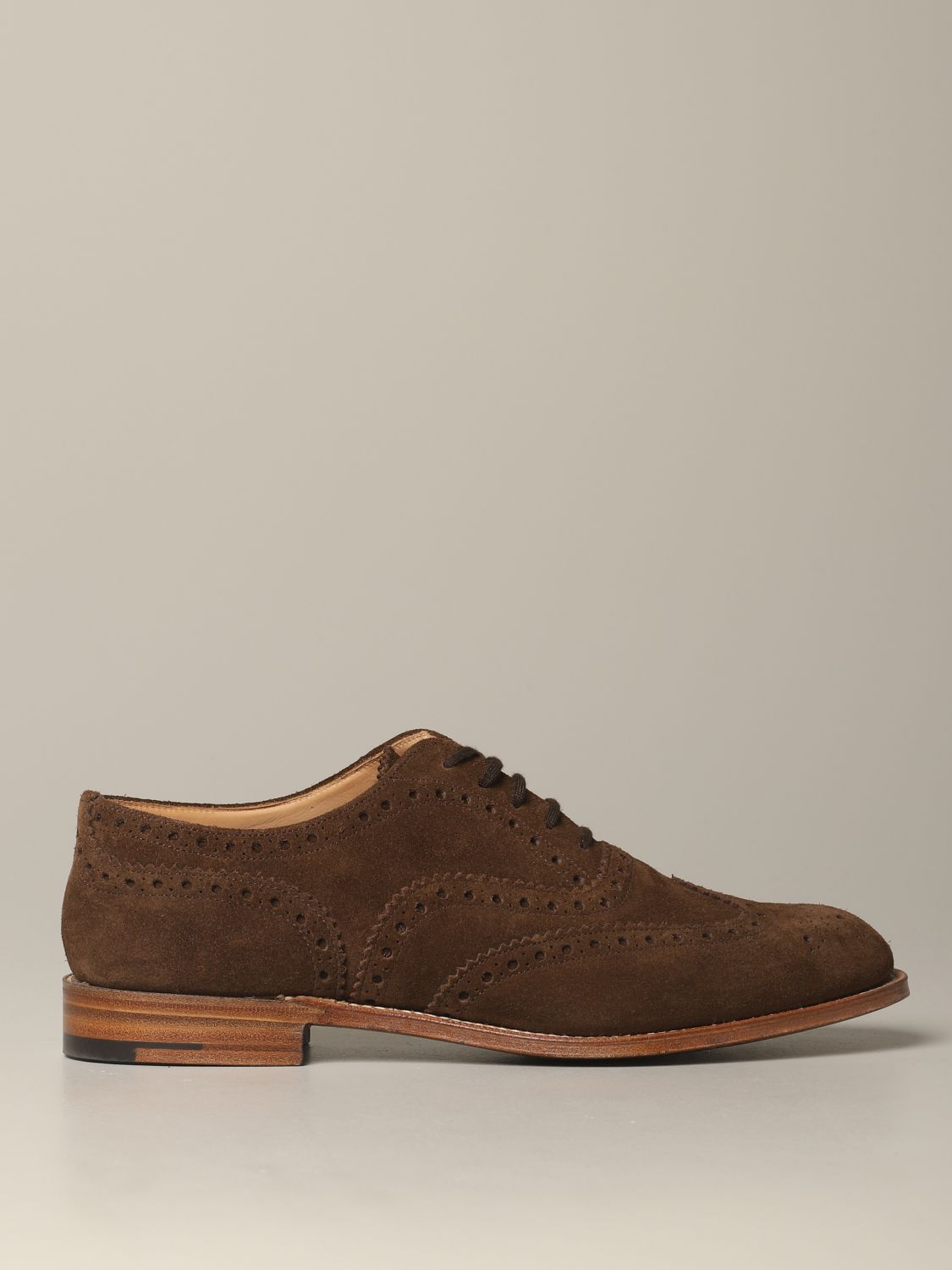 Brogue shoes Church's: Francesina Burwood Church's in suede with brogue motif brown 1