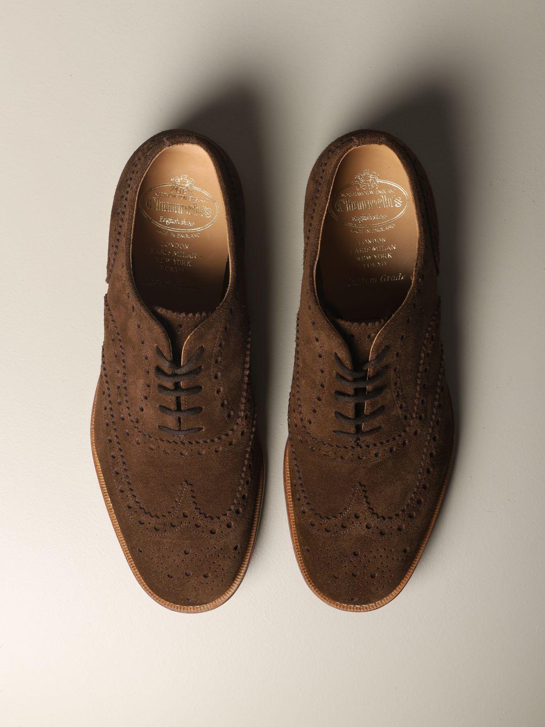 Brogue shoes Church's: Francesina Burwood Church's in suede with brogue motif brown 3