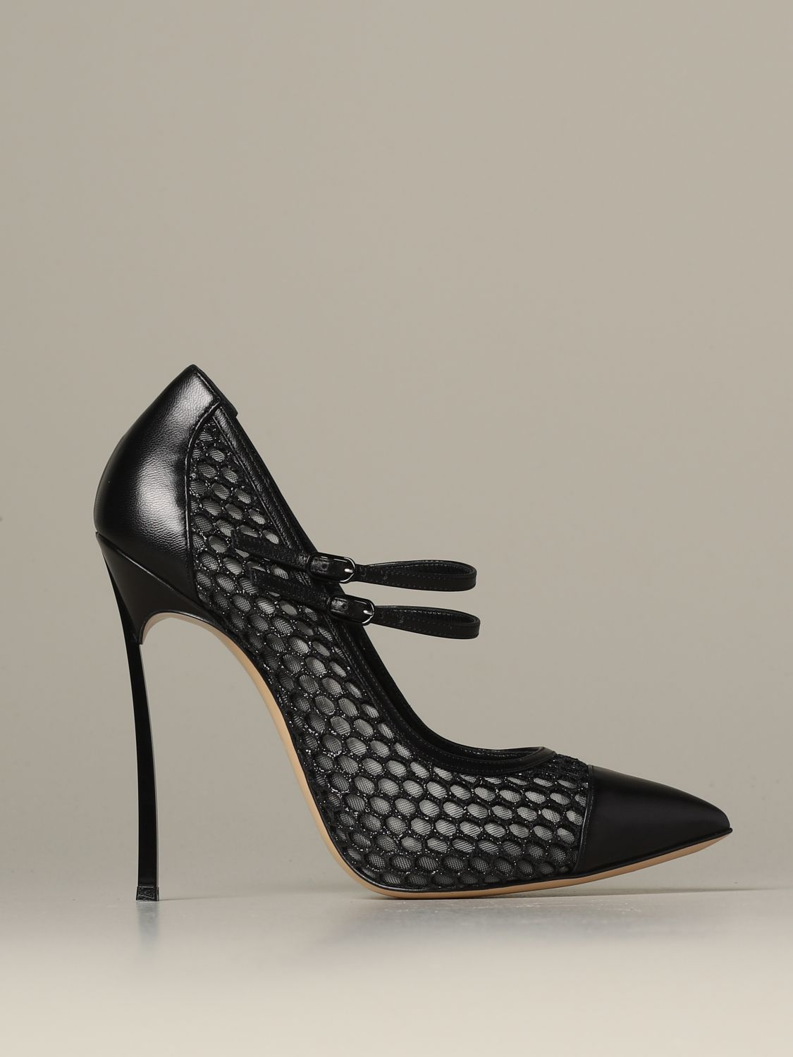Pumps Casadei: Casadei décolleté in leather and mesh with blade heel black 1