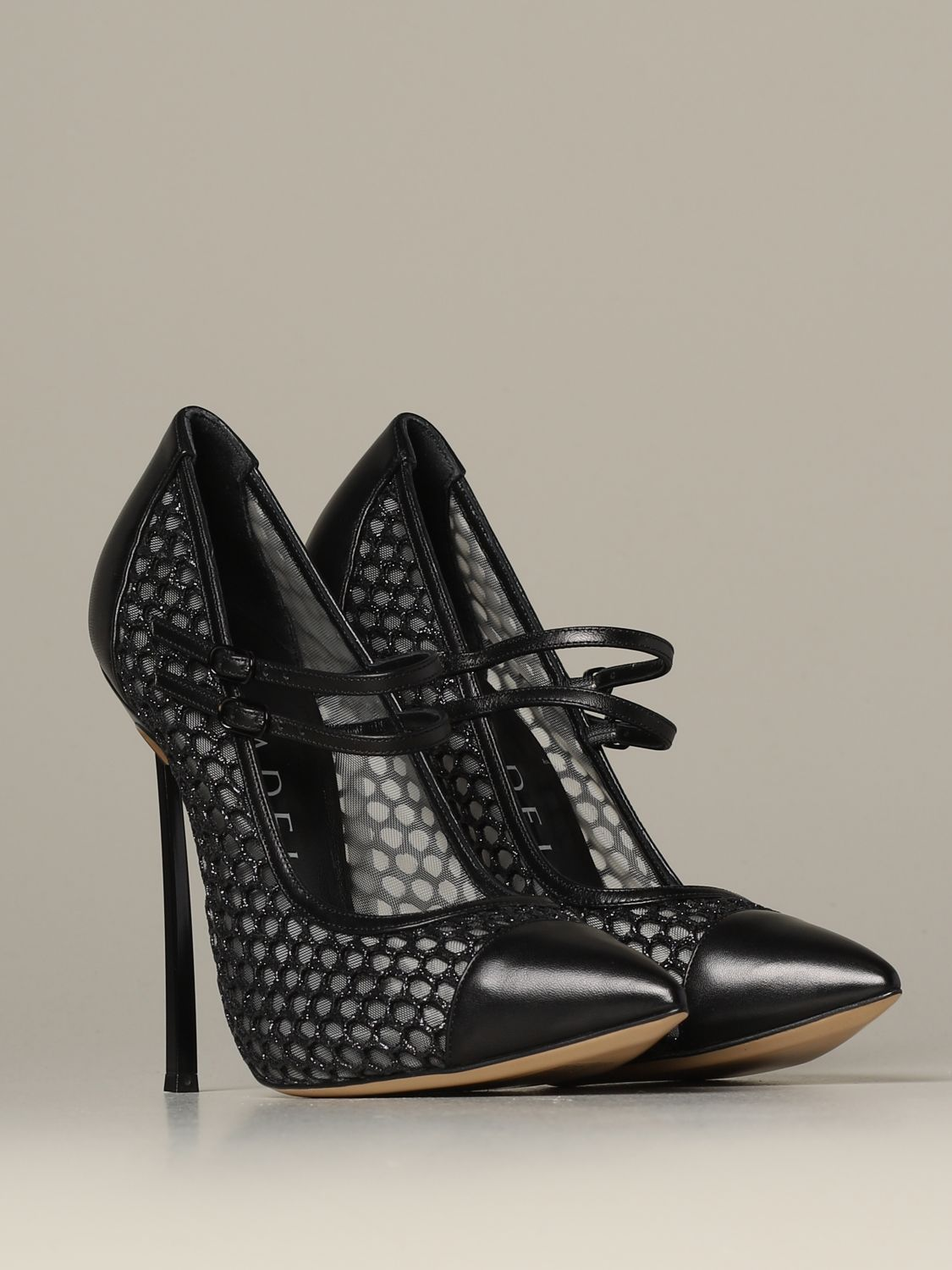 Pumps Casadei: Casadei décolleté in leather and mesh with blade heel black 2
