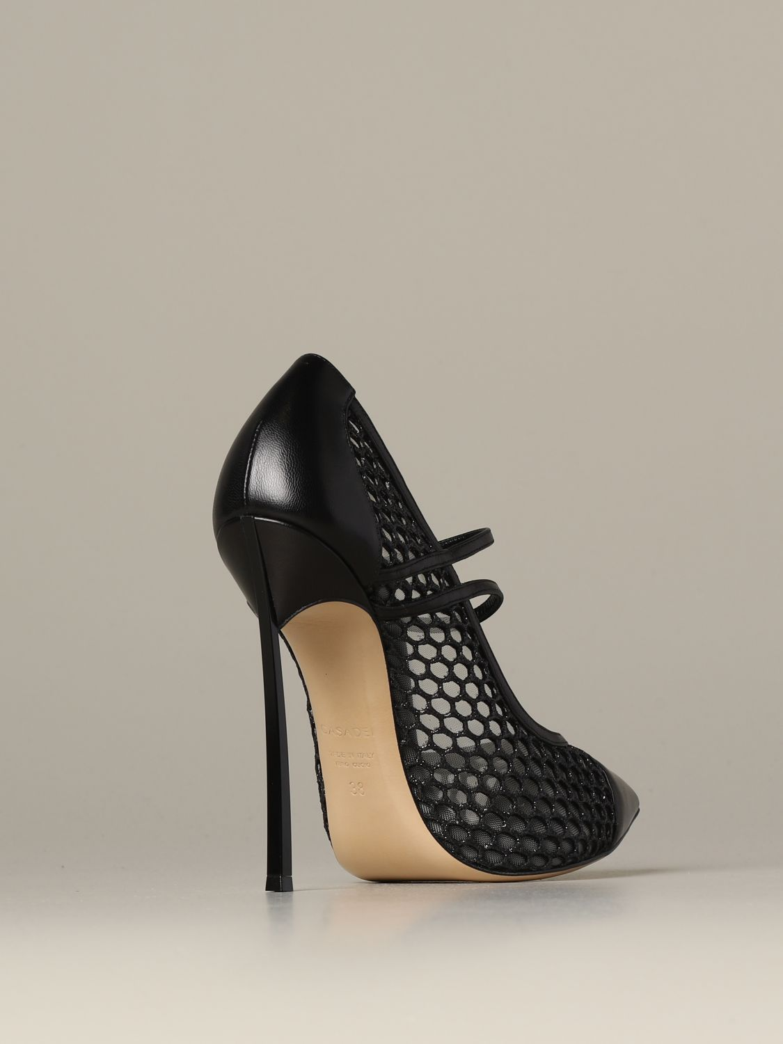 Pumps Casadei: Casadei décolleté in leather and mesh with blade heel black 3