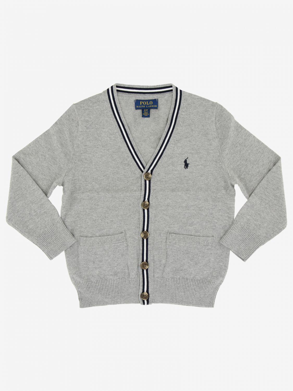 Cardigan Polo Ralph Lauren Toddler avec logo gris 1