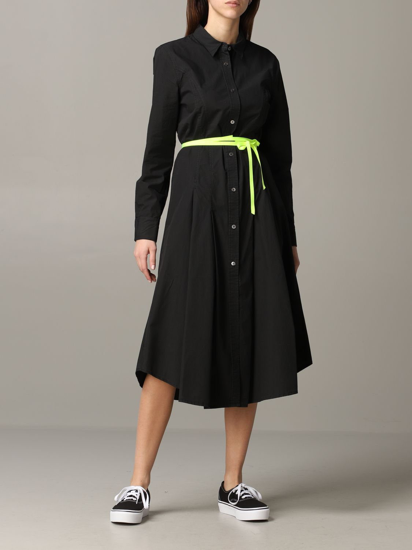 Robe en popeline Department 5 avec ceinture fluo noir 1