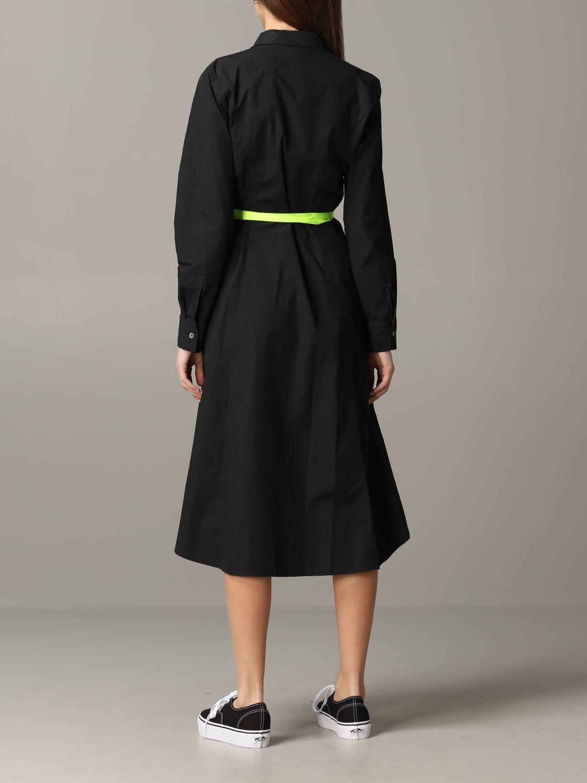 Robe en popeline Department 5 avec ceinture fluo noir 2