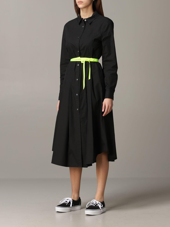 Robe en popeline Department 5 avec ceinture fluo noir 3