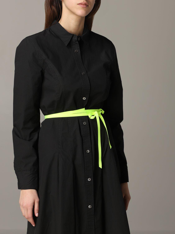 Robe en popeline Department 5 avec ceinture fluo noir 4