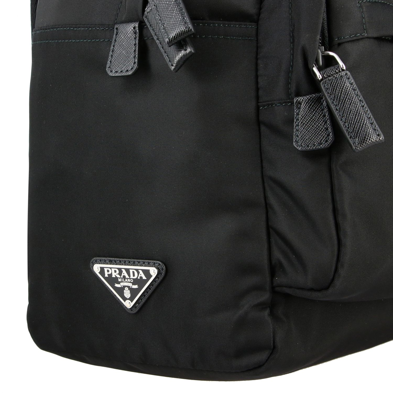Zaino Prada in nylon con logo triangolare nero 5