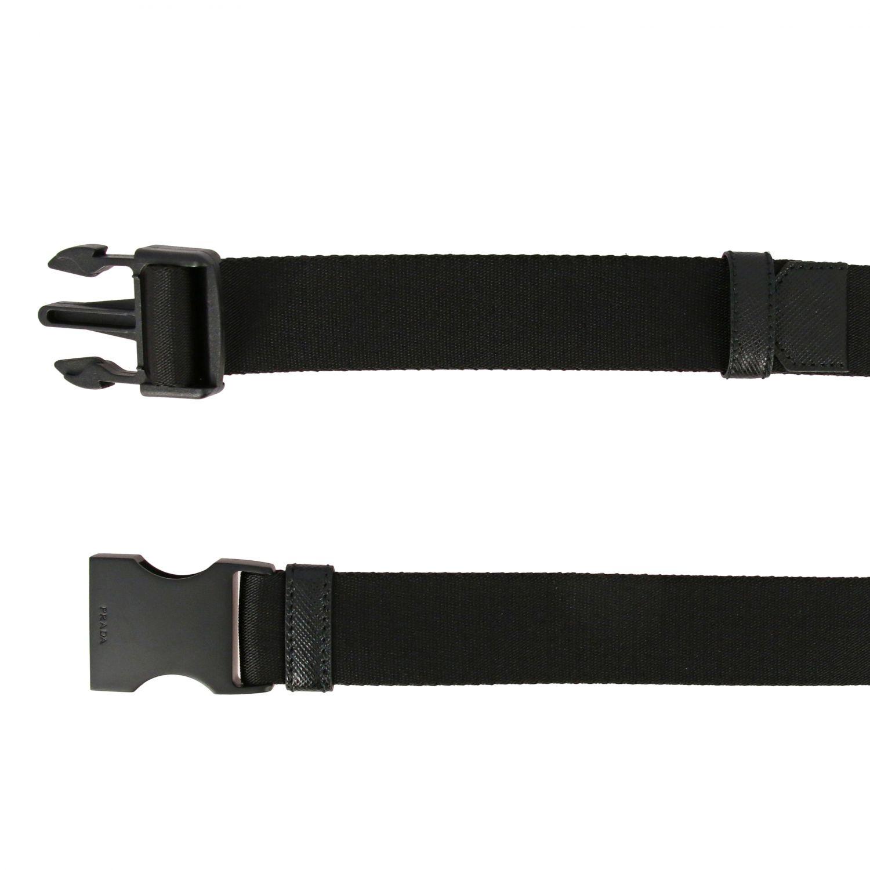 Cintura Prada con nastro e fibbia nero 2